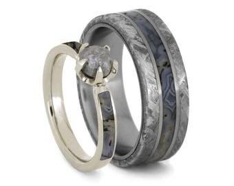 Dinosaur Bone Wedding Ring Set Rough Diamond Engagement With Mens Meteorite Band
