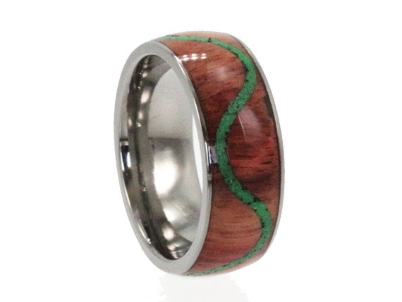 Malachite Ring Titanium Wood Ring, Malachite Stone Inlay in Wood, Waterproofing Included, Personalized Gift Ideas for Him and for Her
