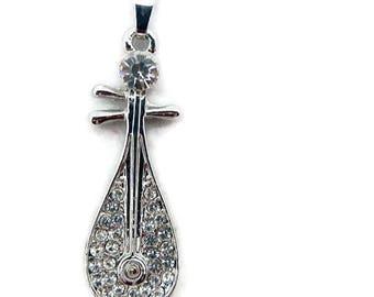 Mandolin Pendant Silver-tone with Rhinestone Accents