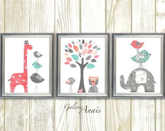 Coral and turquoise nursery art Baby Girl Room Decor Elephant nursery Giraffe nursery Tree birds art baby girl nursery - Set of three prints