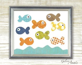 Baby boy nursery print - childrens art print - kids room decor - kids art - nursery wall art - nursery Fish - The Great Fish Race print