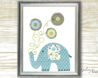Nursery art print nursery decor baby nursery print kids art kids room decor nursery wall art  Elephant nursery blue - Yoyo Fun