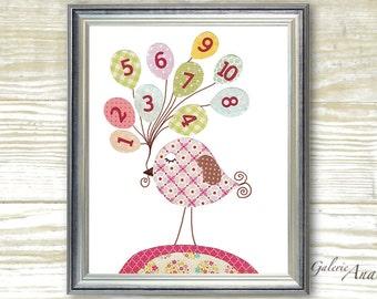 Baby Nursery Art Baby girl nursery Decor kids wall art numbers nursery art birds nursery - My Ten Balloons print