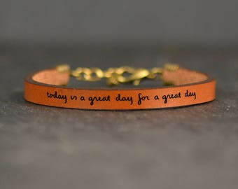 inspirational leather bracelet | adoption gifts | choose joy | carpe diem bracelet | mantra bracelet | friendship gift |  quote jewelry