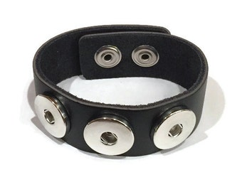 ArtPoppers Black Genuine Leather Cuff Bracelet with Three Noosa Snaps - Leather Snap Bracelet - Ginger Snaps -  - Changeable