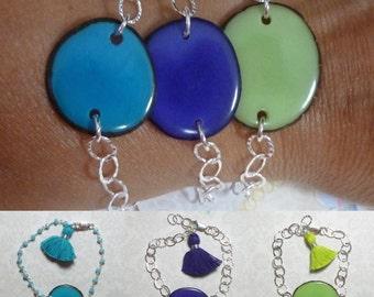 Tagua Bracelet, Tagua Nut Sterling Silver Hammered Cable Link Tassel Bracelet, Tagua Jewelry, Turquoise Purple Green Tagua Tassel Bracelet