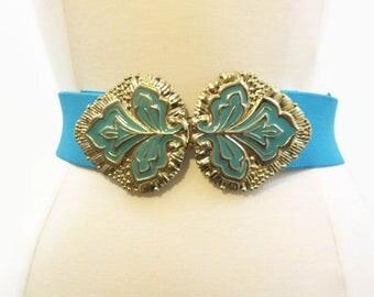 Vintage 70s 80s Belt Turquoise Elastic Gold Metal Cinch Belt M L XL