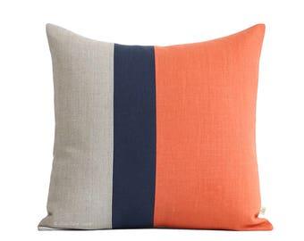Color Block Pillow (20x20) Orange, Navy and Natural Linen by JillianReneDecor Preppy Home Decor Colorblock Striped Trio Koi Carrot