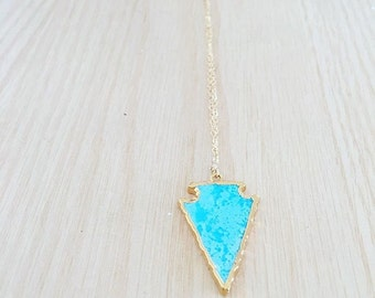 Long Gold Turquoise Arrow Necklace