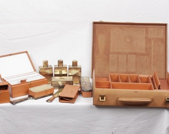 Authentic HERMES VINTAGE Leather TRAVEL grooming set w/ silver toiletry pieces