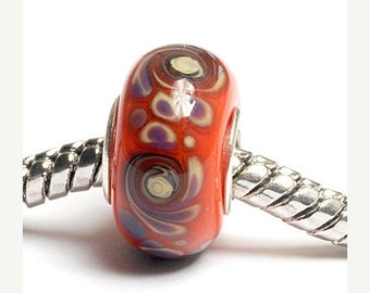 ON SALE 40% OFF Glass Lampwork Beads  - Large Hole Coral w/Beige Rondelle Bead  - Sc10041