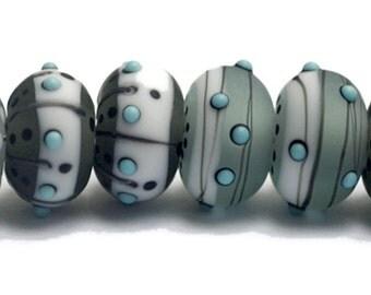 NEW! 10903341 Eight Slate City Rondelle Beads - Handmade Glass Lampwork Bead Set