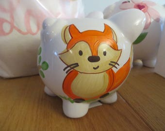 SALE one of a kind SMALL piggy bank hand painted personalized fox