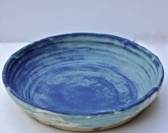 Vermont Made Pie Plate Over 9 Inch Stoneware in Mottled, Mat, Cobalt and Cerulean  Blue