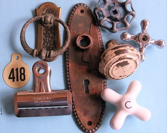Vintage Hardware Lot Vintage Found Objects Cow Tag Paper Clip Brass Door Knob Water Valve Antique Water Faucets