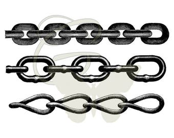 Metal Chains Printable Collage Sheet Digital Download Crafting Transfer Illustrations Clip Art
