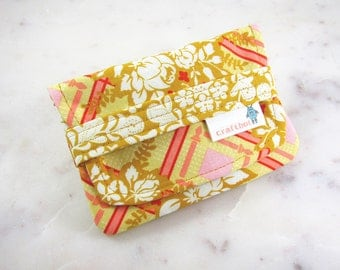 Sanitary Pad Holder, Vintage Floral, Yellow Floral, Period Bag, Period Kit, Pads Pouch, Sanitary Napkins Bag, Period Pads, Tampon Case, Card