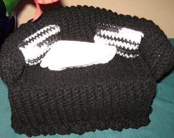Tissue cover, Couch, sofa, black with black and white pillows