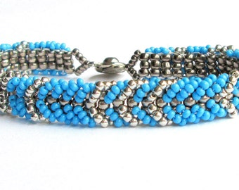 turquoise beaded bracelet seed bead bracelet boho bracelet gift for her bracelet for women southwestern bracelet beadwork bracelet