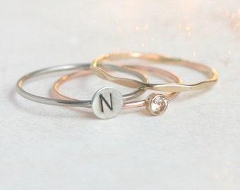 SOLID 14k gold personalized stacking rings. birthstone ring. initial ring. cz gemstone SET. palladium white gold, yellow, rose stacking ring