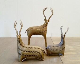 Set of 3 Vintage Dhokra Lost Was Deer or Antelope Tribal Art India