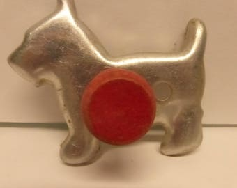 Vintage Mid Century Aluminum Scottie Dog Cookie Cutter with Red Wood Handle