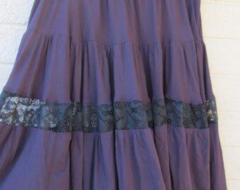 Bellydance gypsy dance skirt Black and purple goth skirt with lace insert, waist 38-52 inches