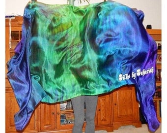 "Sahariah's Silk Belly Dance Veil Rectangle original ""Killer Silk"" 3 Yard Rectangle Veil Tribal Streaks Markings Wild Tribal Veil"
