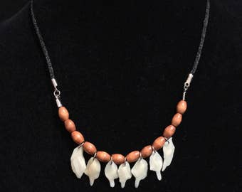 Real Gar Fish Bone Scales And Wooden Beads On A Black Silk Cord Taxidermy Necklace