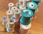 Collection Of 30 Vintage Wooden Sewing Spools.