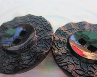 Vintage Buttons -  beautiful lot of 2 large matching Victorian jet black glass, faceted pressed design, (oct 246)