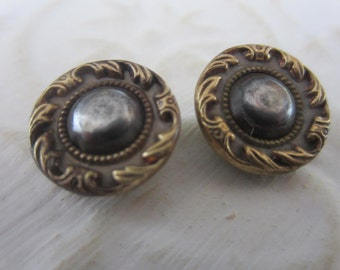 Vintage Buttons - Collector molded metal, pressed and molded, Victorian lot of 2 matching, very old (jan 98-17)