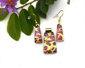Fused dichroic glass pendant and earring set, three layers, red, yellow gold, blue and green