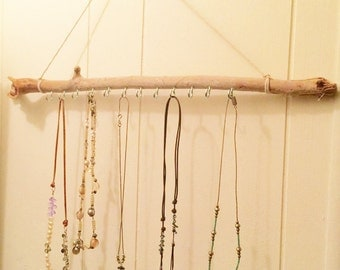 driftwood jewelry display, 20 inches wide, bohemian jewelry holder, reclaimed driftwood, necklace organizer, boho