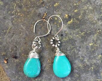 Southwestern Turquoise Teardrop Briolette Dangle Earrings   Southwestern Cowgirl Earrings  boho jewelry