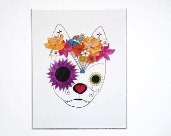 "Mexican Folk Art Boho Prints, Floral Sugar Skull 11""x14"" Art Prints, Dia de los Muertos Flower Crown Art, Day of the Dead Chihuahua Art"