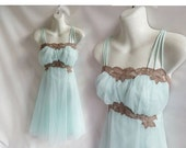 50s Vintage Negligee Size 36 M Blue Chiffon Lace Nylon Nightgown Nightie 60s