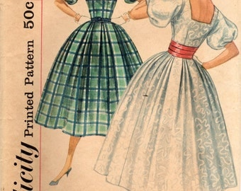 1950s Simplicity 2132 Vintage Sewing Pattern Misses One Piece Dress, Party Dress, Full Skirt Dress Size 16 Bust 36