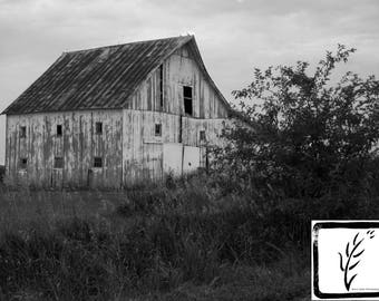 Black and White Photograph, photo print, wall art, home decor, country road, barn photography, Indiana, Hoosier, farm, haiku, rustic, rural