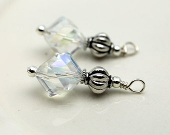 Clear AB Cut Crystal with Silver Ribbed Bead Pendant Charm Earring Dangle Drop Beaded Set