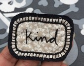 Cursive kind word hand embroidered fabric patch - sew on stitch on patch, cute patches, patchgame, custom patch, cute denim flare, sew cute