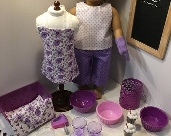 "IN THE KITCHEN - ""Purple and White"" - 36-Piece Set for 18-Inch Dolls"