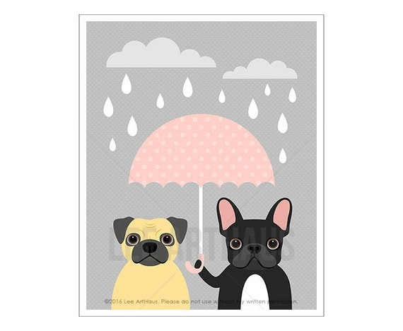 67F Dog Prints - Pug and French Bulldog with Pink Umbrella Wall Art - Funny Dog Art - Pink and Gray Nursery Art - Pug Drawing - Pug Print