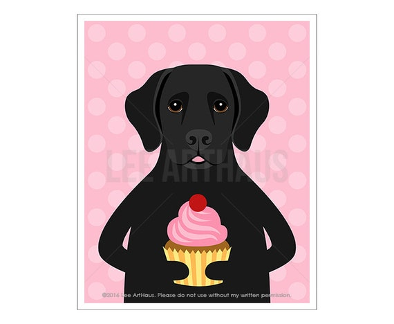 297D Cupcake Print - Black Labrador Eating a Cupcake Wall Art - Black Labrador Retriever - Pink Cupcake Art - Food Art Print - Black Lab Art