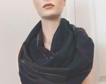 upcycled vintage Dark Blue plaid infinity scarf,dark blue infinity scarf,lightweight scarf,dark blue plaid infinity scarf,unisex,teen,