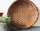diamond pattern basket - round woven bamboo bowl - boho wall hanging