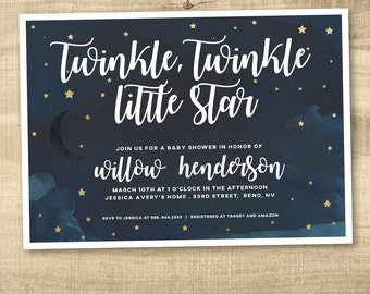 Twinkle Twinkle Little Star Baby Shower Invitation, Navy Baby Shower Invite, Neutral Shower Invitation, Printable shower invitation