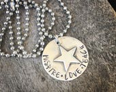 Sterling Silver Hand Stamped inspire love teach soldered Star necklace