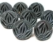"8 Antique BUTTONs, Victorian pierced gray metal, 1/2""."