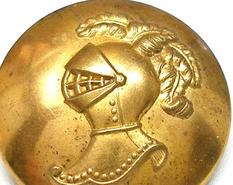"1800s Livery BUTTON, Knights helmet, brass button 1 1/8"". Made in Paris."